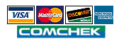We accept Mastercard, Visa, American Express, Discover and ComChek
